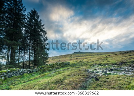 Panoramic view on moorland in Devon, UK with dramatic sky - stock photo