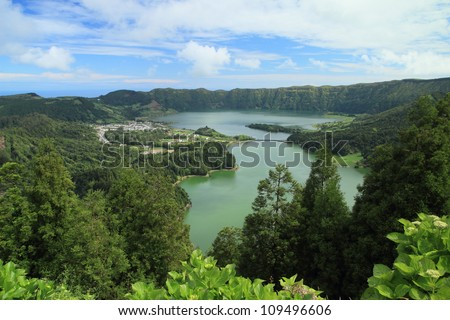 Panoramic view on Sete Cidades and lakes on the island of Sao Miguel, Azores, Portugal. - stock photo