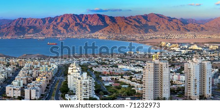 Panoramic view on the Aqaba gulf and Eilat city, Israel - stock photo