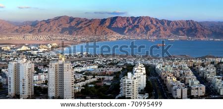 Panoramic view on the Aqaba gulf, Eilat, Israel - stock photo