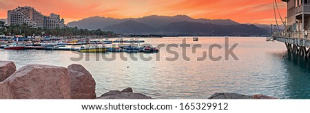 Panoramic view on the central beach of Eilat at dawn, Israel - stock photo