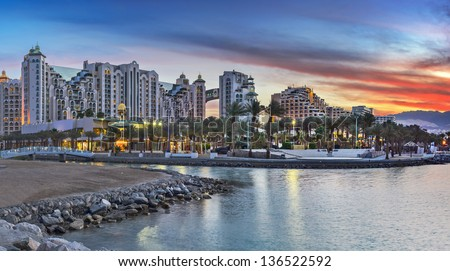 Panoramic view on the central beach of Eilat - famous resort and recreation city of Israel - stock photo