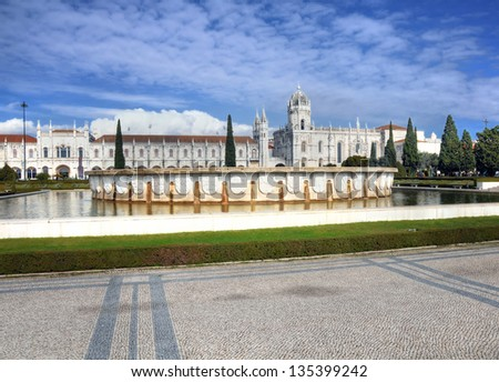 Panoramic view on the Hieronymites Monastery in Lisbon, Portugal - stock photo