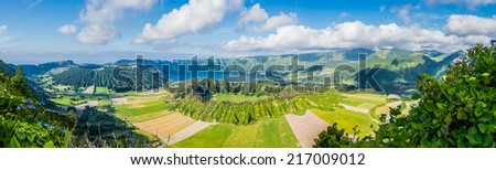 Panoramic view on the lake of Sete Cidades, Azores, Portugal, Europe - stock photo