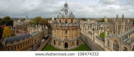 Panoramic view on the Radcliffe Camera and All Souls College 1438 - stock photo