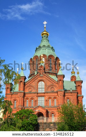 Panoramic view on the Uspenski Cathedral in Helsinki, Finland