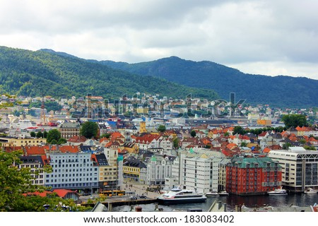 Panoramic view on town Bergen, Norway - stock photo