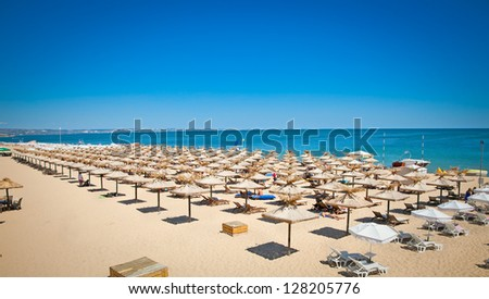 Panoramic view on Varna beach on Black sea in Bulgaria. - stock photo