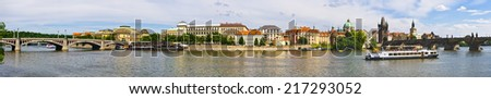 Panoramic view on Vltava in Prague - Czech Repubic - stock photo