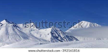 Panoramic view on winter mountains. Caucasus Mountains, Georgia, region Gudauri. - stock photo