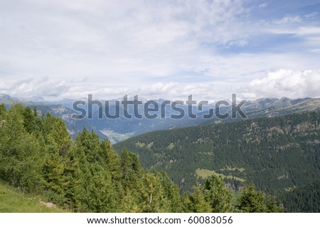 Panoramic view over Italian Dolomites from the Cermis