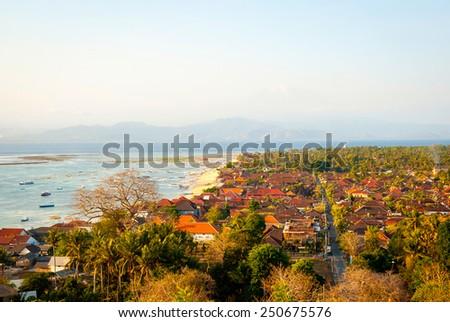 Panoramic view over Nusa Lembongan island, Indonesia - stock photo
