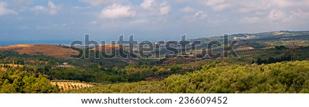 Panoramic view over open countryside from Agacli towards Kusadasi in Turkey