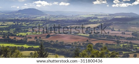 Panoramic View over Shropshire Hills, Area of Outstanding Beauty - stock photo