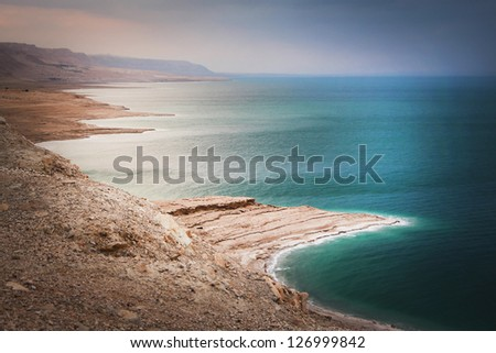 Panoramic view over the Dead sea, Israel - stock photo