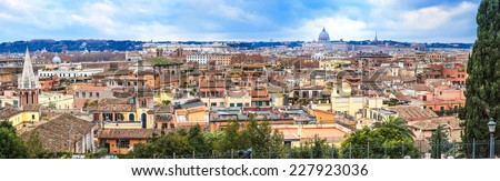 Panoramic view over the historic center of Rome, Italy - stock photo