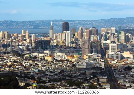 Panoramic view, San Francisco, California, USA - stock photo