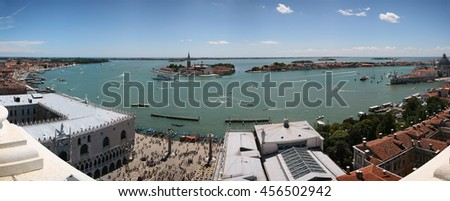 Panoramic view (South) of Venice lagoon, Doge's Palace, Basilica Santa Maria della Salute from Campanile di San Marco. Venice, Italy. July, 2007. - stock photo