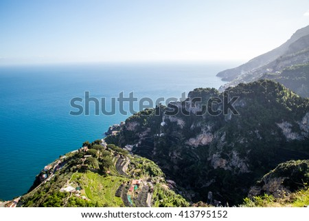 Panoramic view  terrace at Ravello, Amalfi Coast, Italy - stock photo
