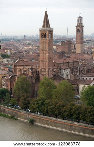Panoramic view the old city Verona, Italy