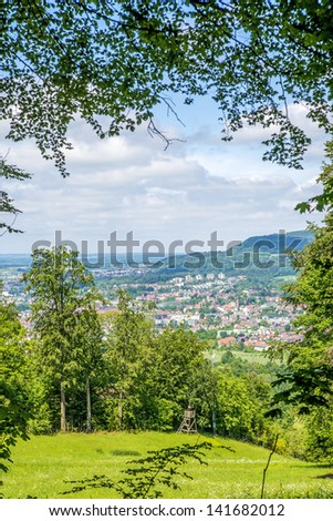 Panoramic view to a city in Germany - stock photo