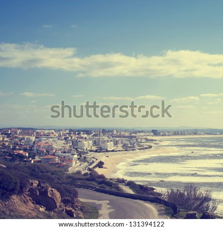 Panoramic view to Figuera da Foz town near the ocean in Portugal, illustration of summer holidays - stock photo