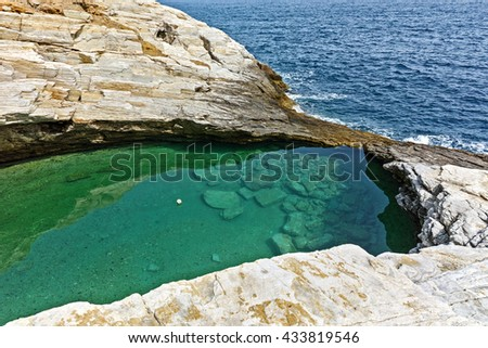 Panoramic view to Giola Natural Pool in Thassos island, East Macedonia and Thrace, Greece  - stock photo