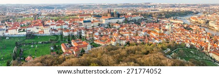 Panoramic view to old town, Hradchany, Mala Strana, Prague castle and St. Vitus cathedral from Petrin tower  - UNESCO world heritage city - Prague, Czech republic - stock photo