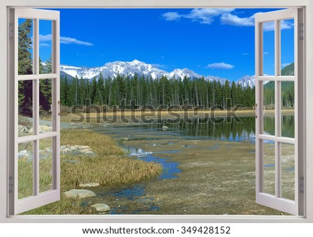 Panoramic view to snow mountains peaks, Banff national park, Canada - stock photo