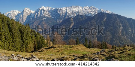 """Panoramic view to the snowy mountains called """"Wilder Kaiser"""" in Tyrol, Austria - stock photo"""