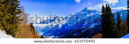 Panoramic Views Chamonix Valley Mont Blanc Stock Photo 651970492