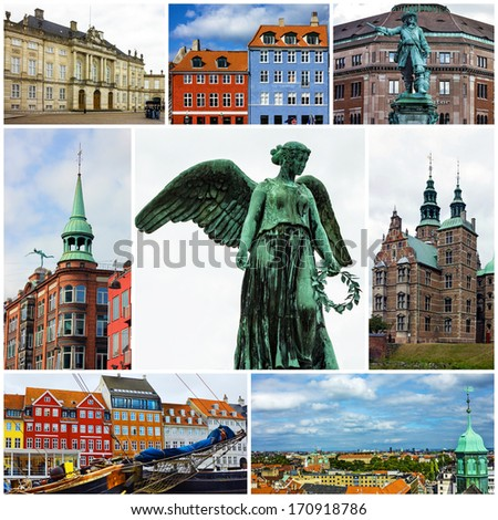 Panoramic views of Copenhagen, Denmark. Collage - stock photo