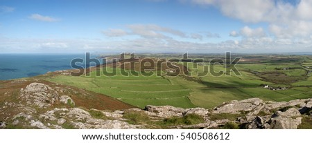 Panoramic views of countryside around St David's Head from the top of Carn Llidi in Pembrokeshire, Wales, UK.