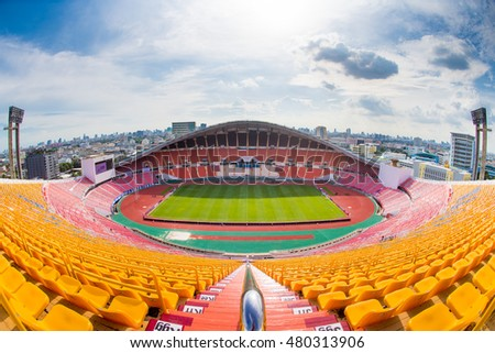 Panoramic views of Rajamangala Stadium before match the 2018 World Cup Qualifiers match between Thailand and Japan at Rajamangala Stadium on September 6, 2016 in Bangkok, Thailand