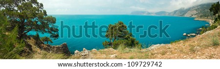 Panoramic views of the Black Sea harbor, a place of sunken ships - stock photo