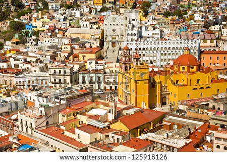 Panoramic vista of colorful buildings in downtown Guanajuato Mexico - stock photo