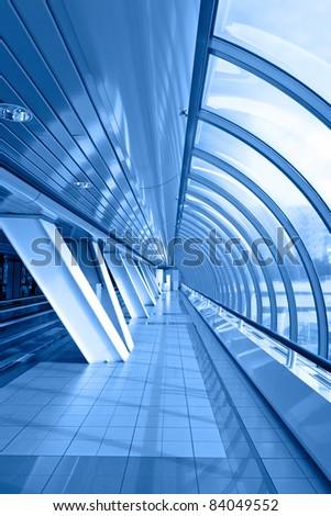Panoramic windows of the bridge. - stock photo