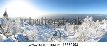 Panoramic winter landscape - stock photo