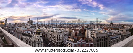 Panoramical aerial view of Madrid in a beautiful summer night, Spain - stock photo