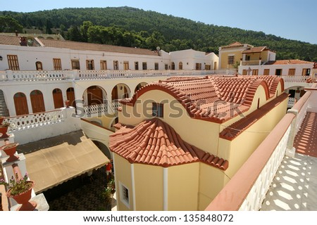 Panormitis monastery, Symi island, Greece--is the most important place of pilgrimage for the whole of Greece - stock photo