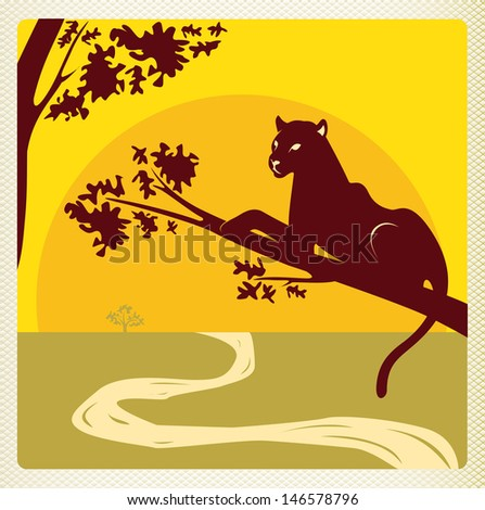 Panther in africa savannah, template with paper frame. For the vector file please search in the portfolio. - stock photo