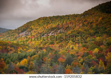 Panthertown Valley hiking trail near Lake Toxaway, North Carolina - stock photo