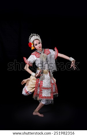 pantomime performances in Thailand on black background