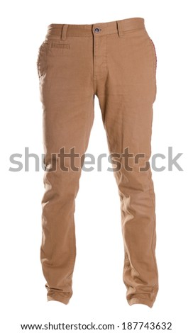 pants isolated on white, ghost fashion style of photography,, beige brown chinos - stock photo