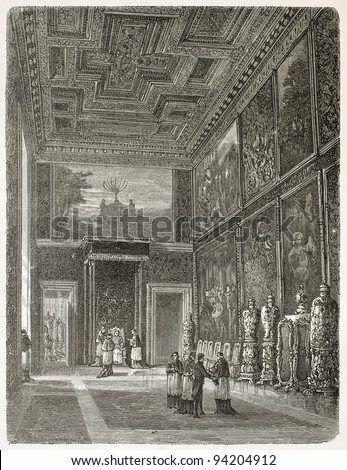 Papal audience in the Hall of the Throne in Vatican city, old illustration. Created by Clerget after photo of unknown author, published on Le Tour du Monde, Paris, 1867 - stock photo