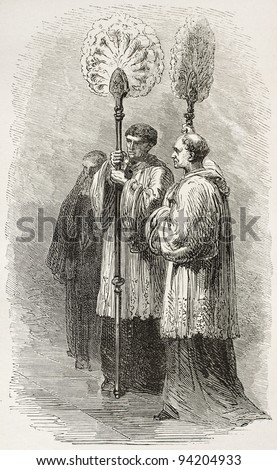 Papal Flabellum carriers old illustration. Created by Neuville, published on Le Tour du Monde, Paris, 1867 - stock photo