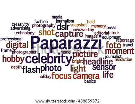 Paparazzi, word cloud concept on white background. - stock photo