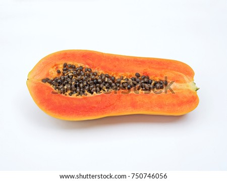 Papaya Cut in Half with Seeds Isolated on White Background