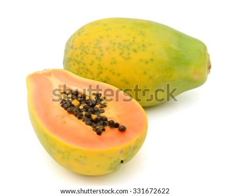 papaya isolated on white  - stock photo