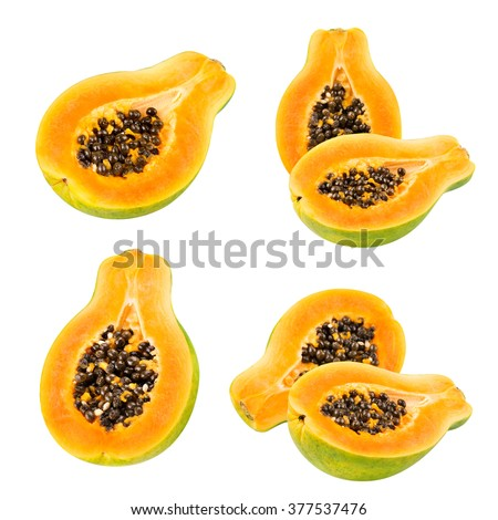Papaya set isolated on white background